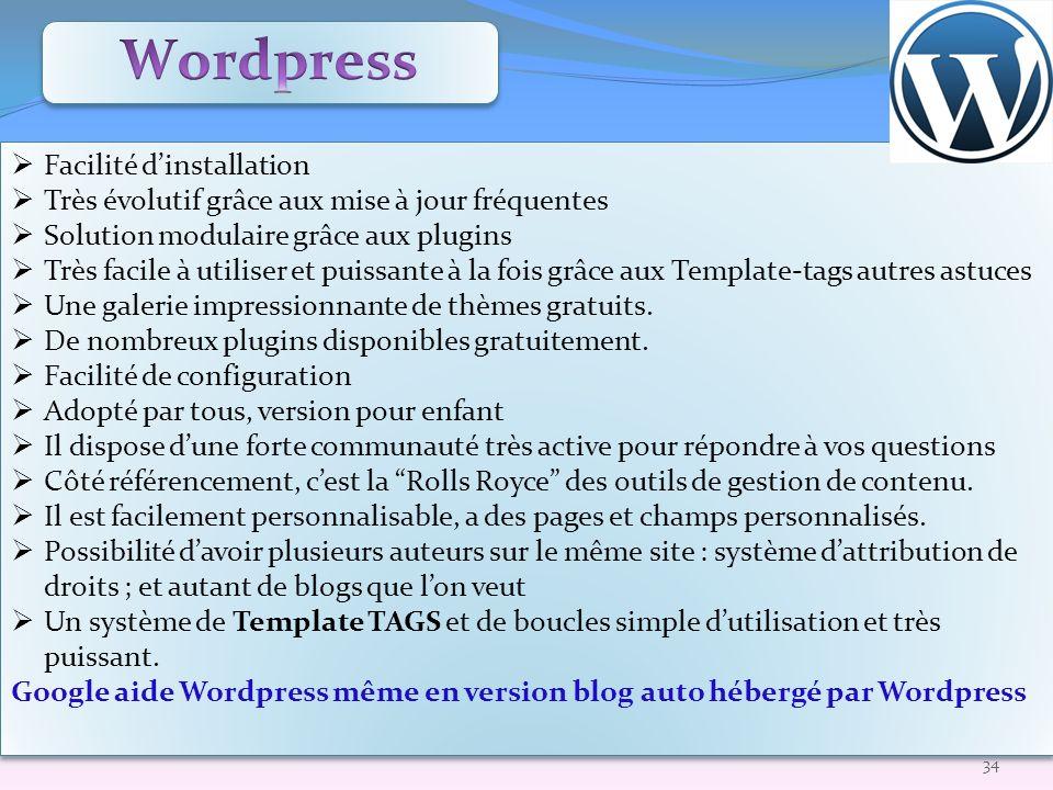 Wordpress Facilité d'installation