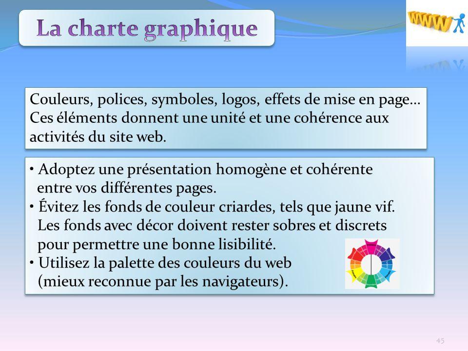 La charte graphique Couleurs, polices, symboles, logos, effets de mise en page…