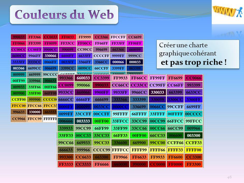 Couleurs du Web Créer une charte graphique cohérant et pas trop riche !