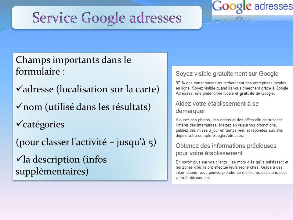 Service Google adresses