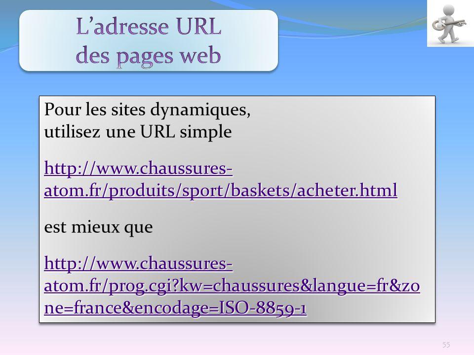 L'adresse URL des pages web