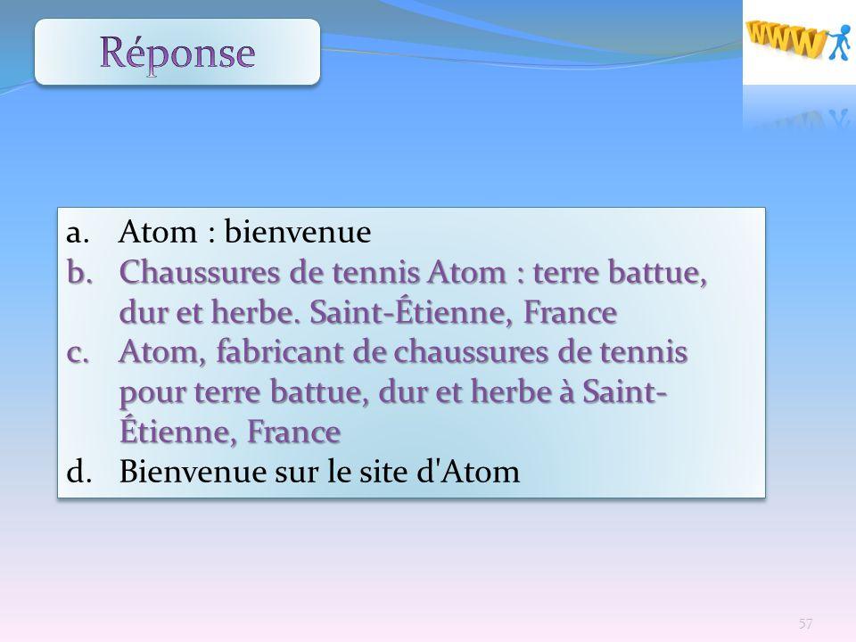 Réponse Atom : bienvenue