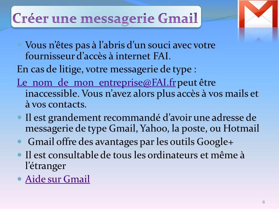 Créer une messagerie Gmail