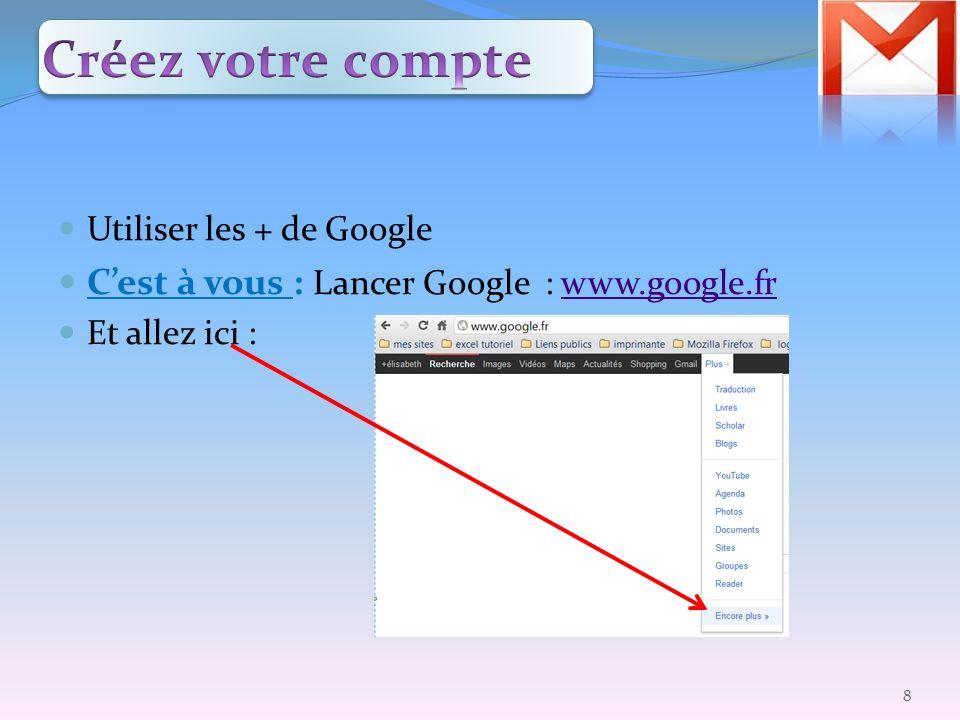 Créez votre compte C'est à vous : Lancer Google : www.google.fr