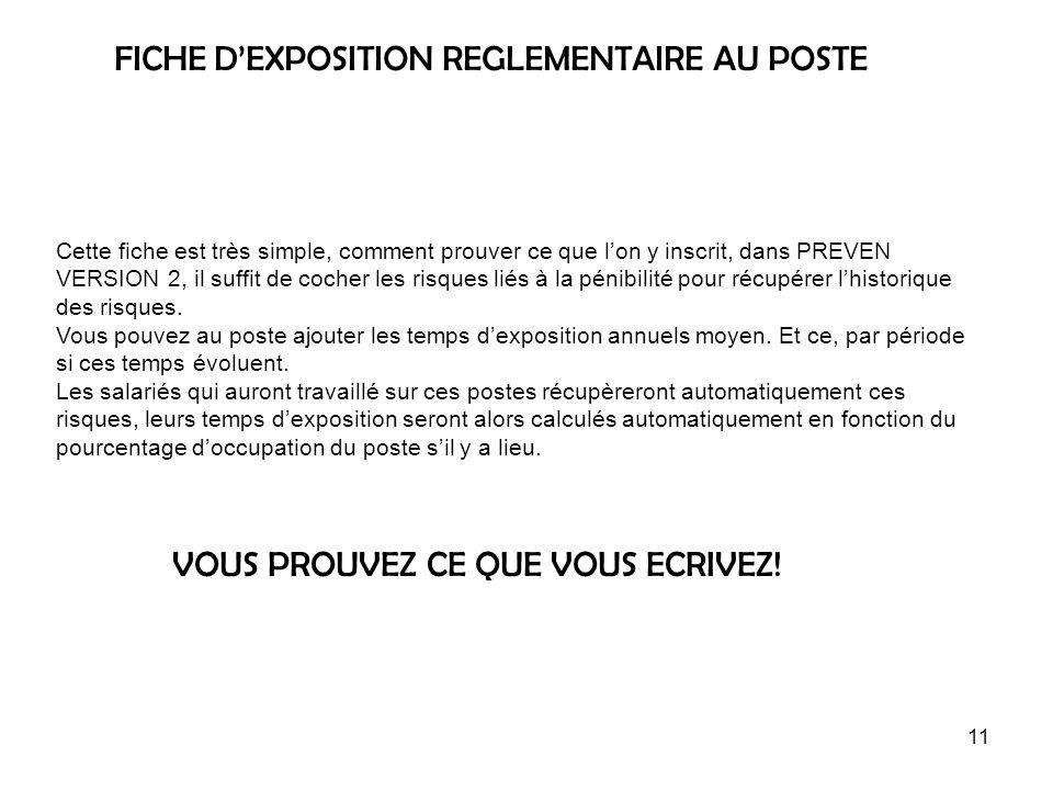 FICHE D'EXPOSITION REGLEMENTAIRE AU POSTE
