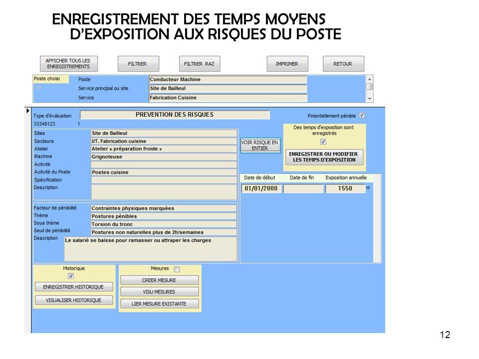 ENREGISTREMENT DES TEMPS MOYENS D'EXPOSITION AUX RISQUES DU POSTE