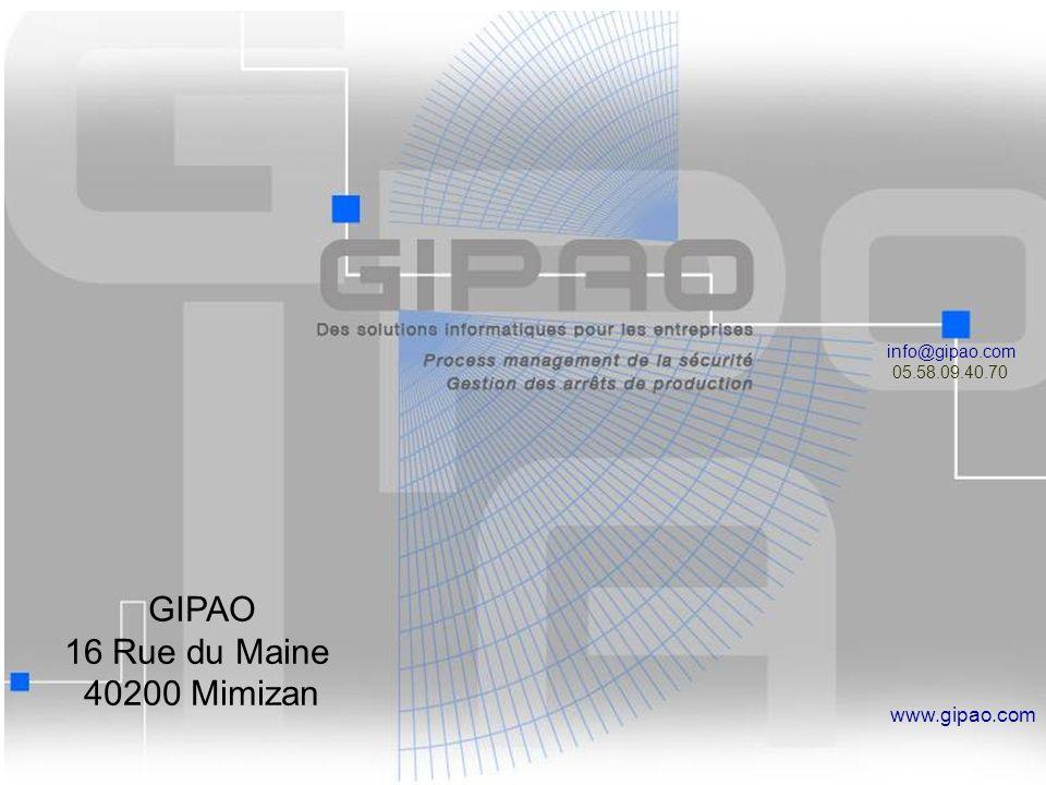 GIPAO 16 Rue du Maine 40200 Mimizan www.gipao.com info@gipao.com