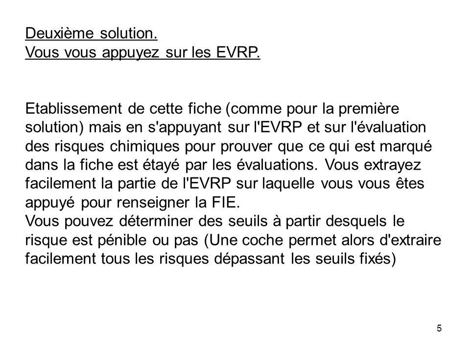 Deuxième solution.Vous vous appuyez sur les EVRP.