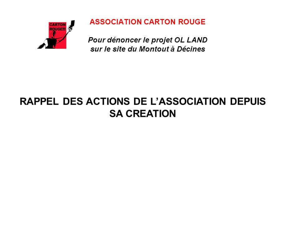 RAPPEL DES ACTIONS DE L'ASSOCIATION DEPUIS SA CREATION