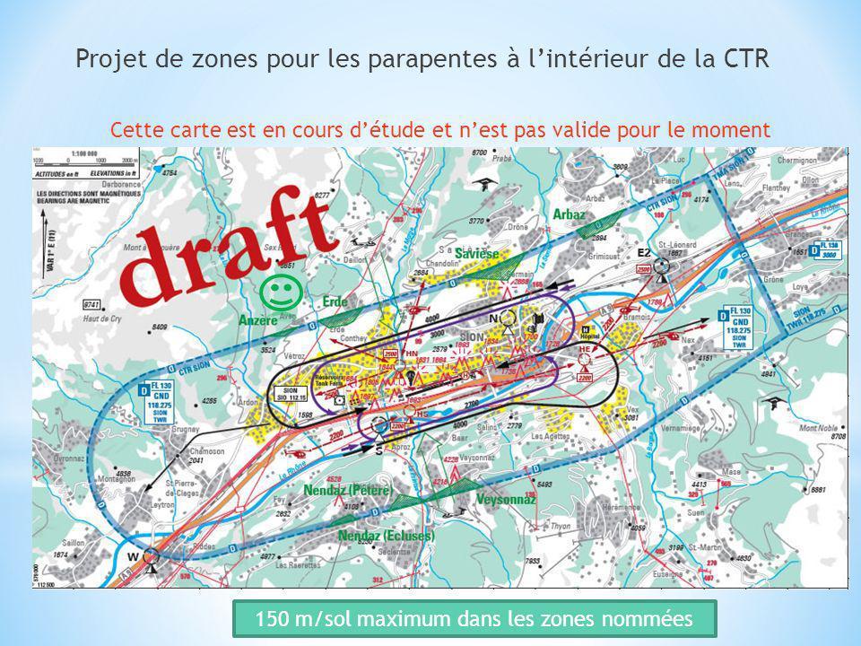 Projet de zones pour les parapentes à l'intérieur de la CTR