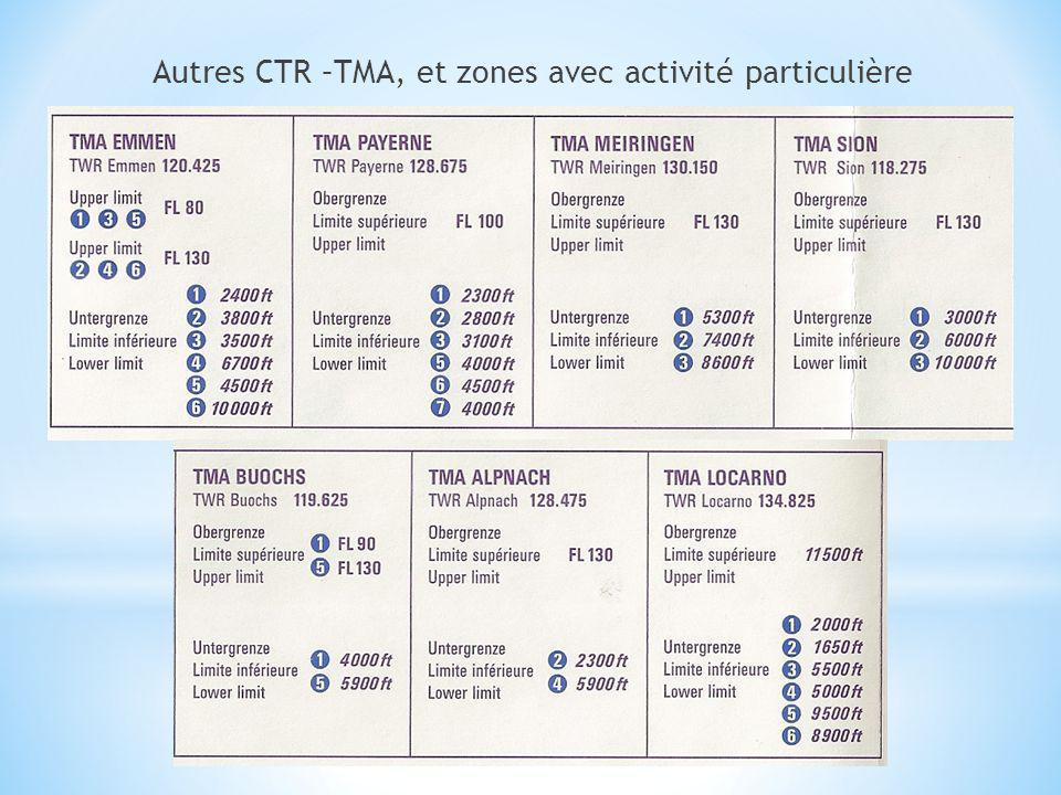 Autres CTR –TMA, et zones avec activité particulière