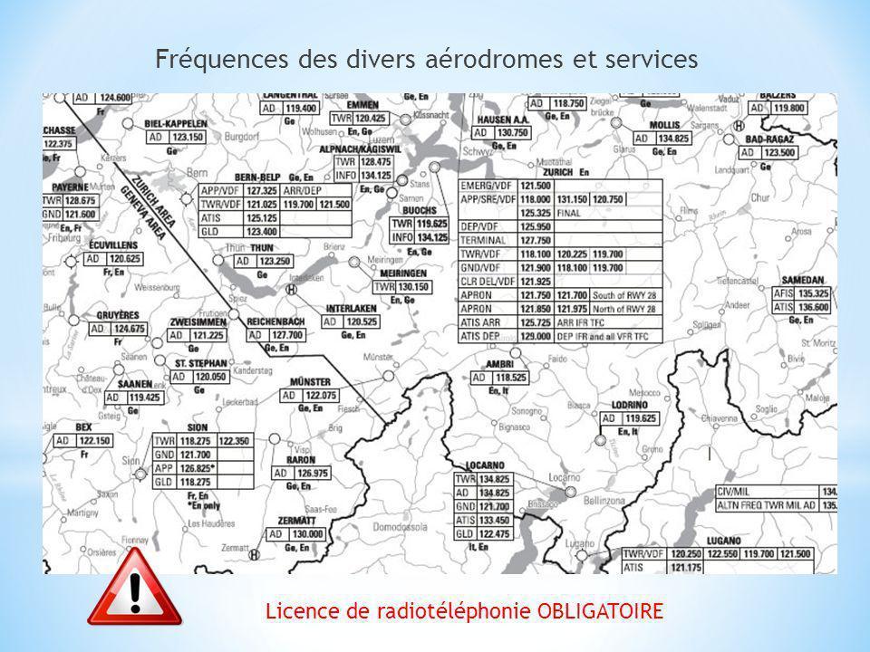 Fréquences des divers aérodromes et services