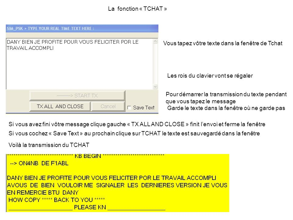 La fonction « TCHAT » Vous tapez vôtre texte dans la fenêtre de Tchat. Les rois du clavier vont se régaler.