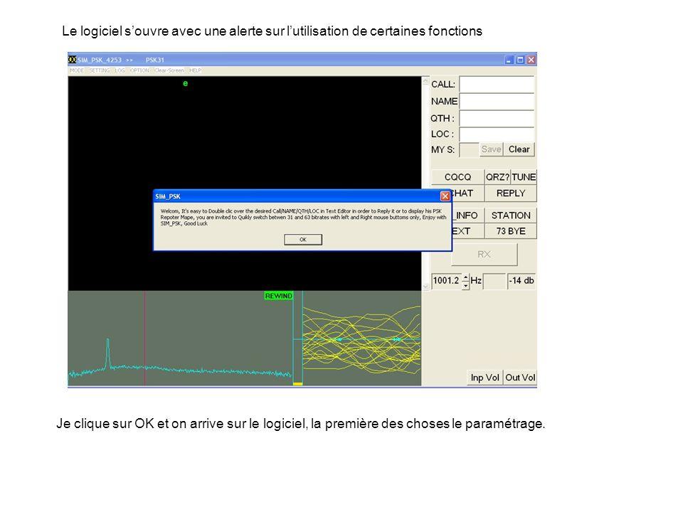 Le logiciel s'ouvre avec une alerte sur l'utilisation de certaines fonctions