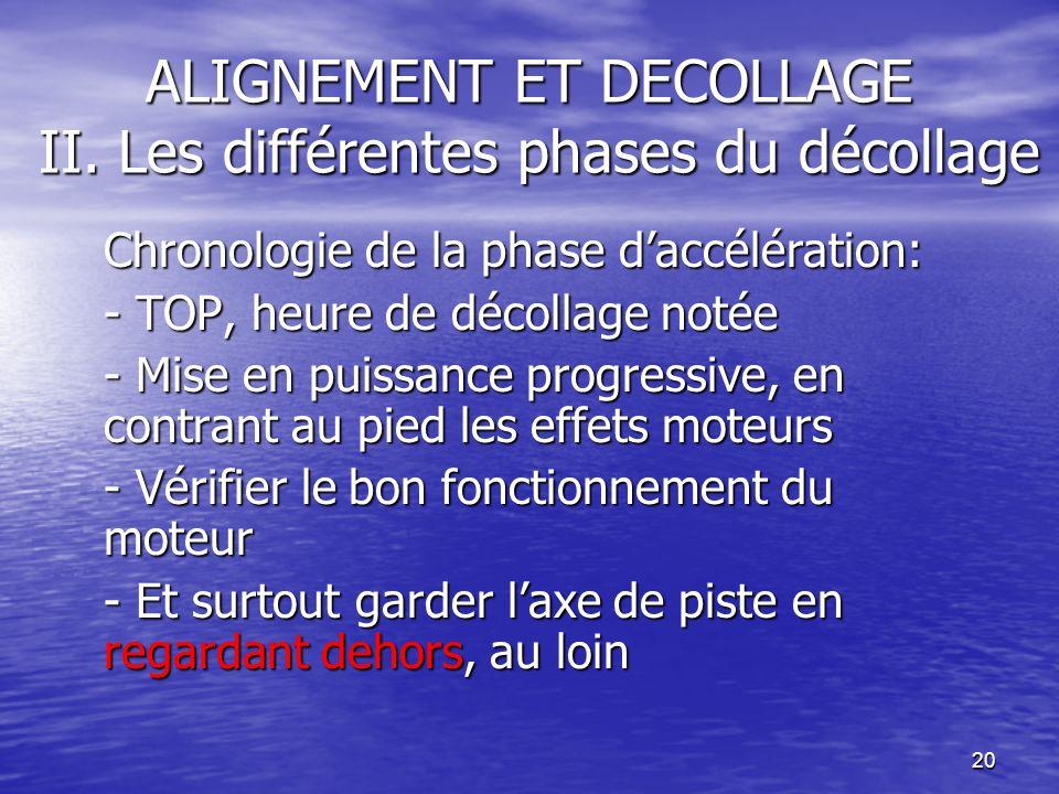 ALIGNEMENT ET DECOLLAGE II. Les différentes phases du décollage