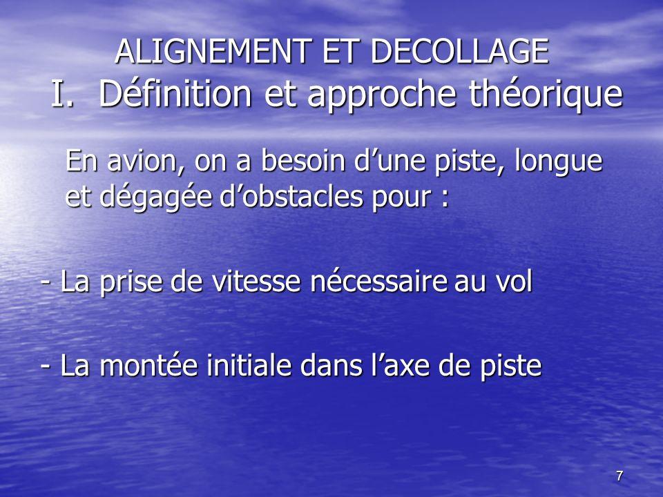 ALIGNEMENT ET DECOLLAGE I. Définition et approche théorique