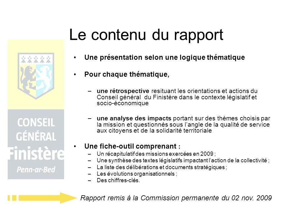 Le contenu du rapport Une présentation selon une logique thématique