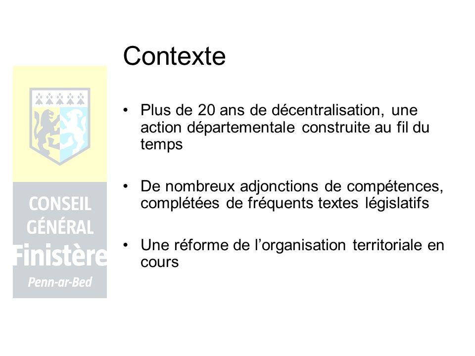 Contexte Plus de 20 ans de décentralisation, une action départementale construite au fil du temps.