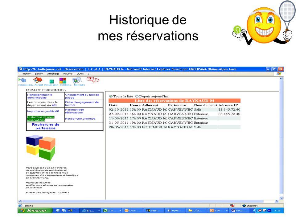 Historique de mes réservations