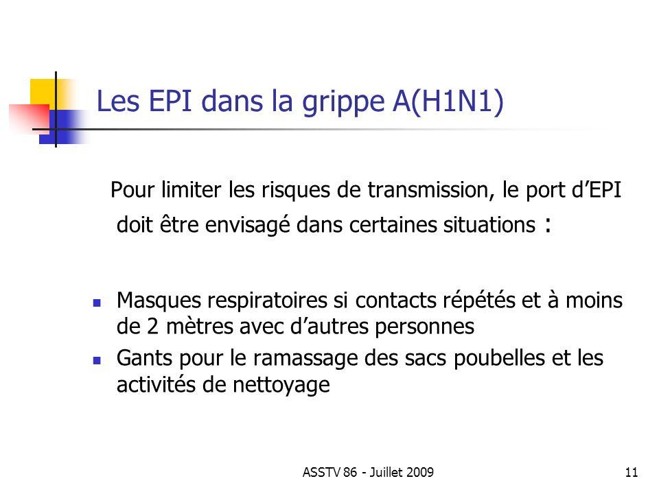 Les EPI dans la grippe A(H1N1)