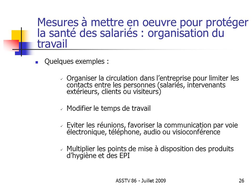 Mesures à mettre en oeuvre pour protéger la santé des salariés : organisation du travail