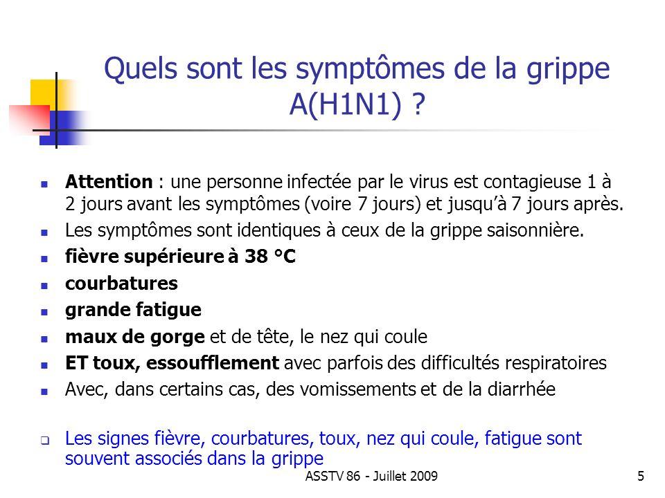 Quels sont les symptômes de la grippe A(H1N1)