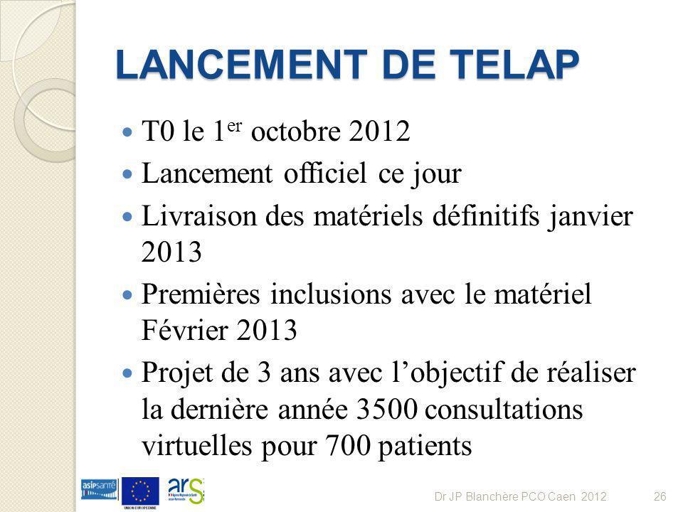 LANCEMENT DE TELAP T0 le 1er octobre 2012 Lancement officiel ce jour