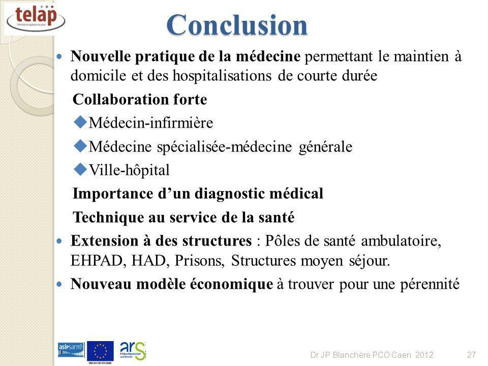 Conclusion Nouvelle pratique de la médecine permettant le maintien à domicile et des hospitalisations de courte durée.