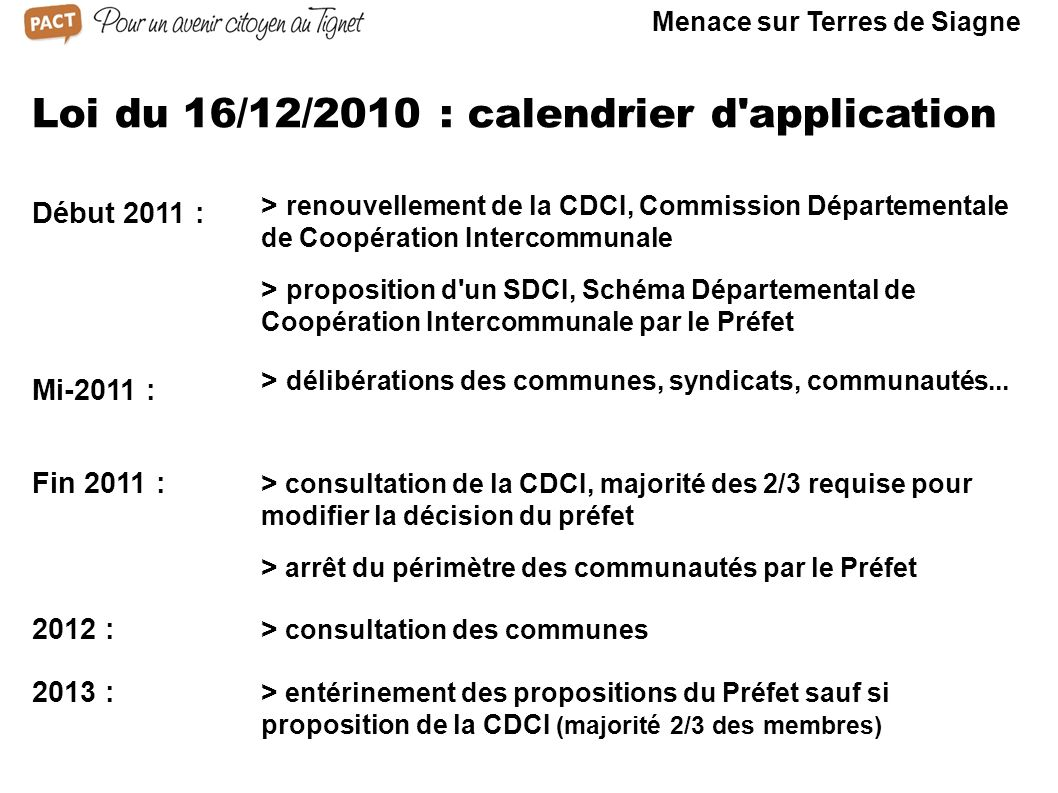 Loi du 16/12/2010 : calendrier d application