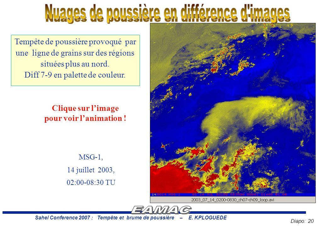 Nuages de poussière en différence d images