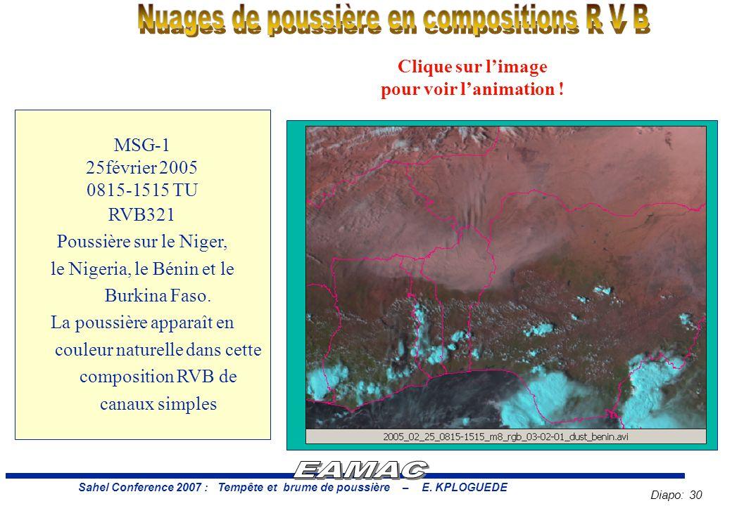Nuages de poussière en compositions R V B