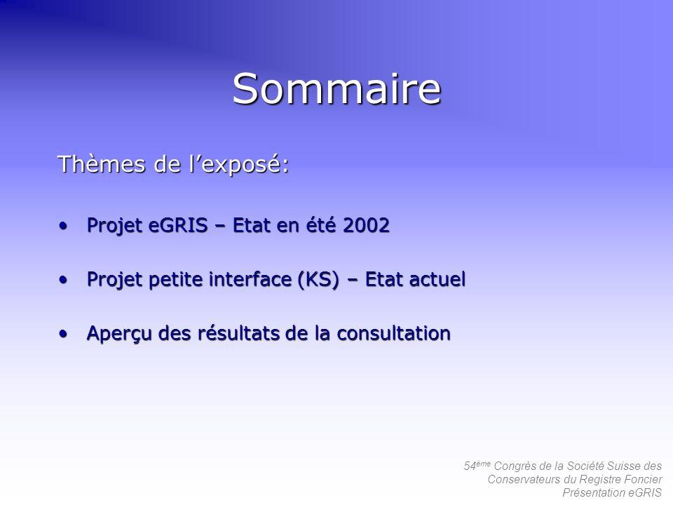 Sommaire Thèmes de l'exposé: Projet eGRIS – Etat en été 2002