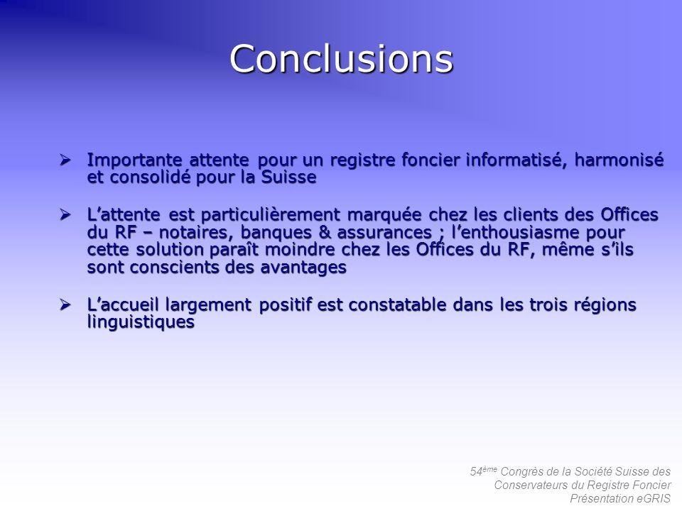 Conclusions Importante attente pour un registre foncier informatisé, harmonisé et consolidé pour la Suisse.