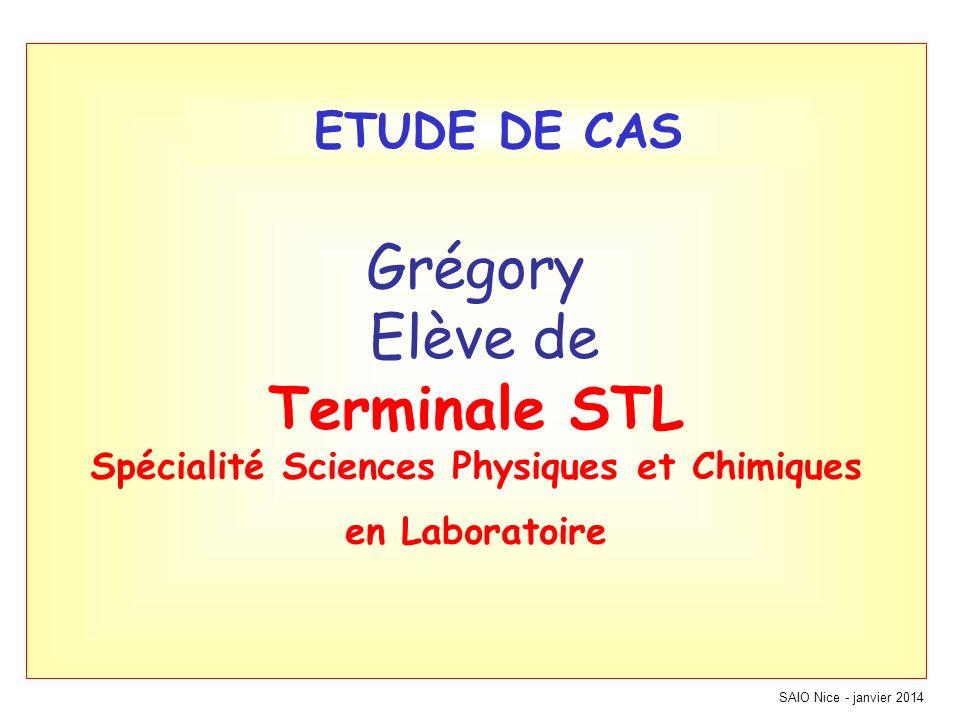 Grégory Elève de Terminale STL Spécialité Sciences Physiques et Chimiques en Laboratoire