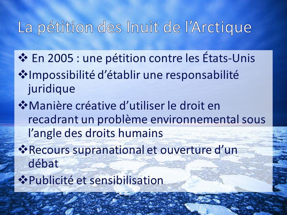 La pétition des Inuit de l'Arctique
