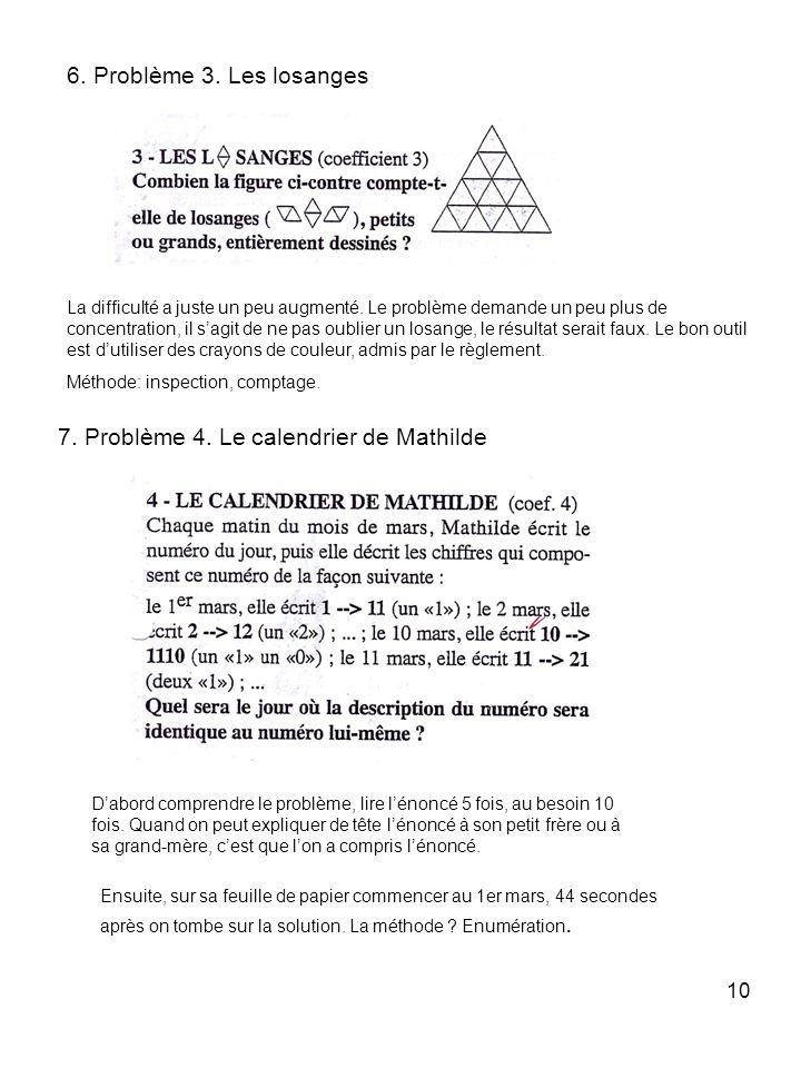 7. Problème 4. Le calendrier de Mathilde