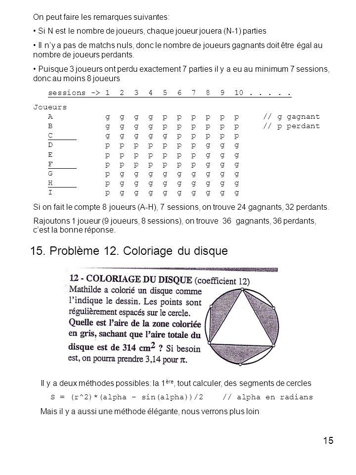 15. Problème 12. Coloriage du disque