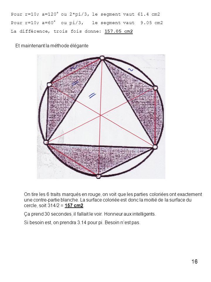 Pour r=10; a=120° ou 2*pi/3, le segment vaut 61.4 cm2