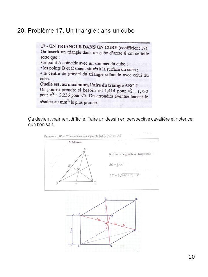 20. Problème 17. Un triangle dans un cube