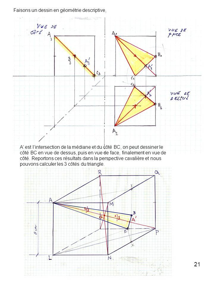 Faisons un dessin en géométrie descriptive,