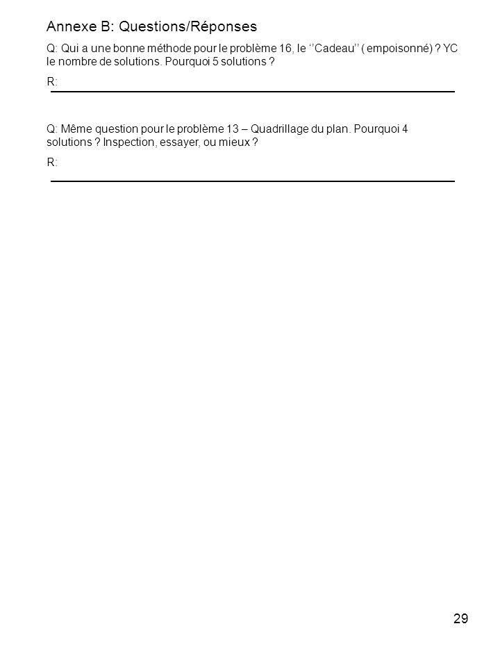 Annexe B: Questions/Réponses