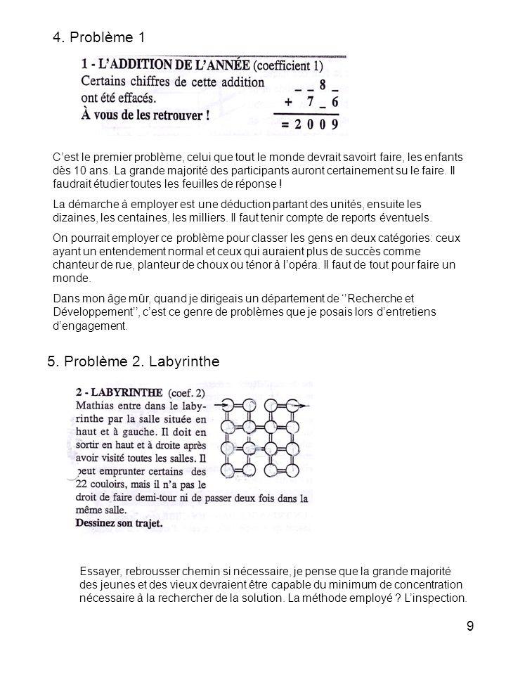 4. Problème 1 5. Problème 2. Labyrinthe