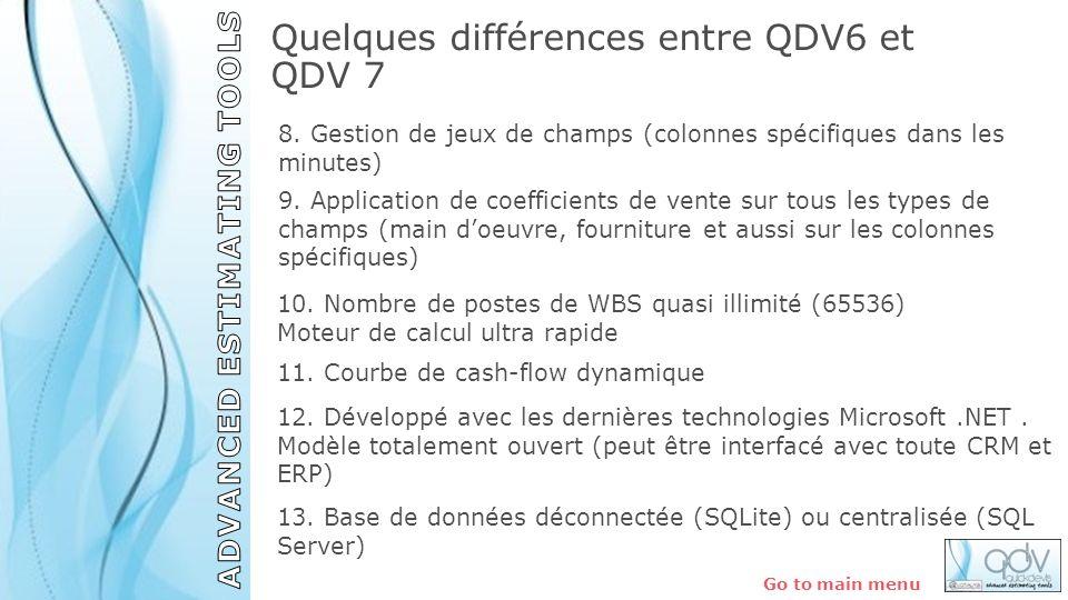Quelques différences entre QDV6 et QDV 7