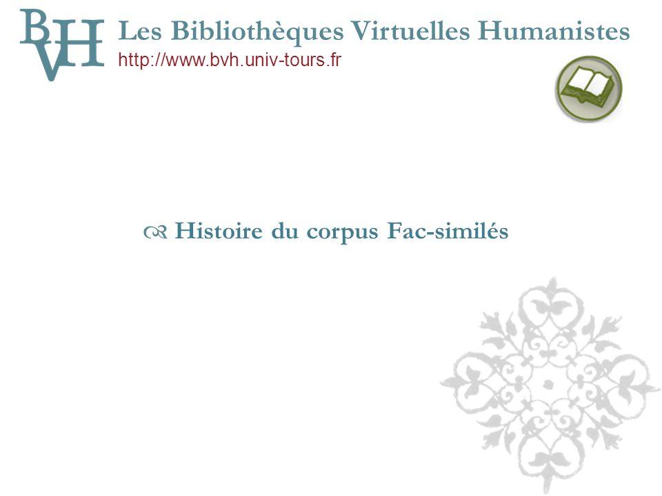 Histoire du corpus Fac-similés