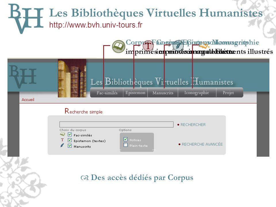 Des accès dédiés par Corpus