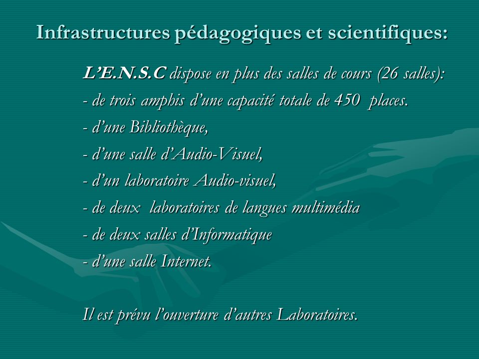 Infrastructures pédagogiques et scientifiques: