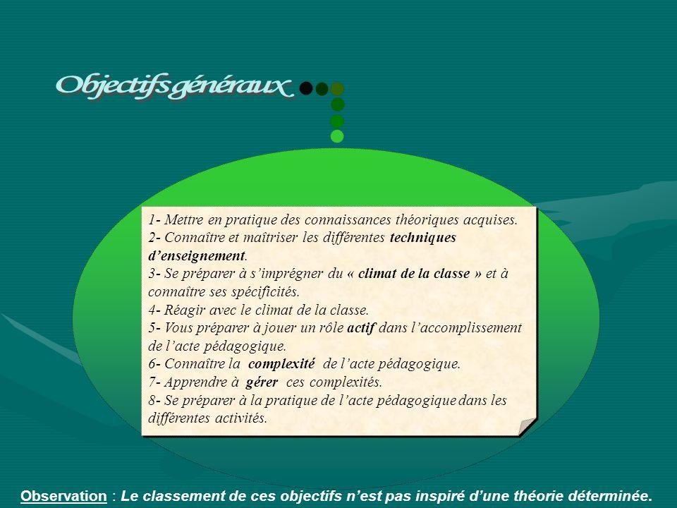 Objectifs généraux 1- Mettre en pratique des connaissances théoriques acquises. 2- Connaître et maîtriser les différentes techniques d'enseignement.