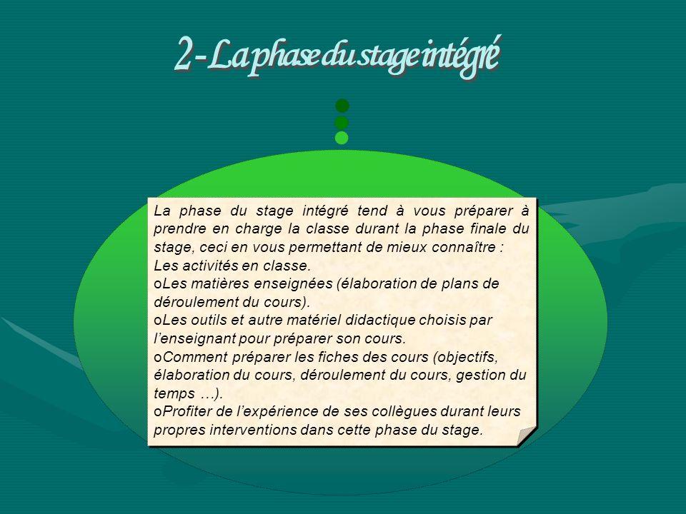 2 - La phase du stage intégré