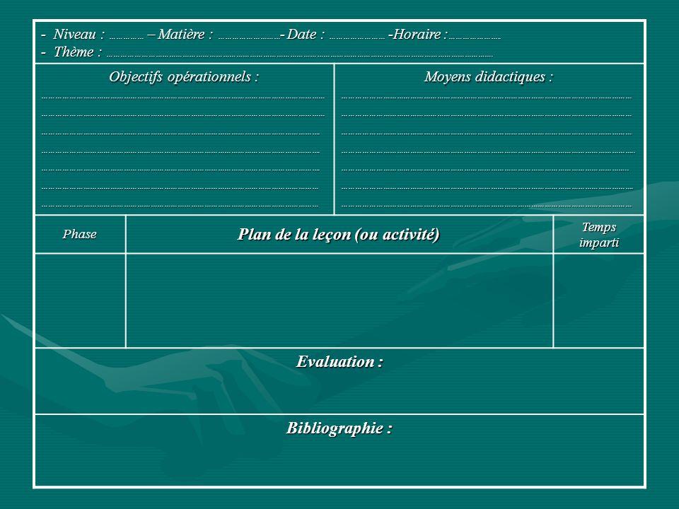 Plan de la leçon (ou activité)
