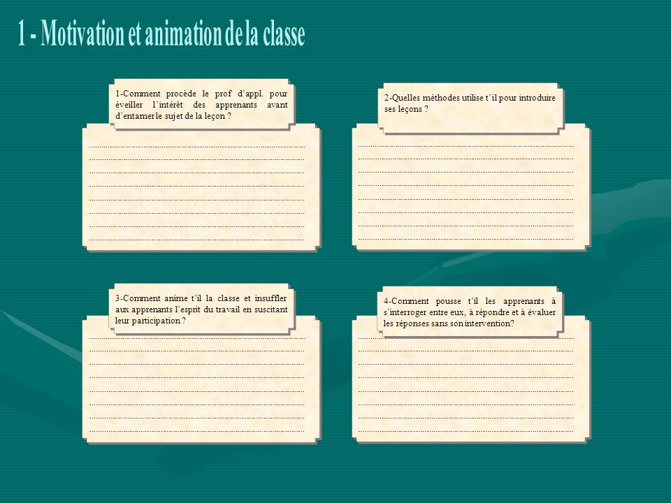 1 - Motivation et animation de la classe